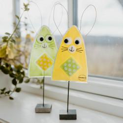 Søde kaniner i Glas - gul/grøn