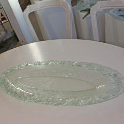 60 cm ovalt glasfad - klart