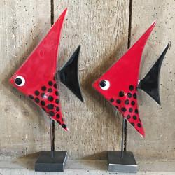 Stor Glasfisk i Metalfod - rød